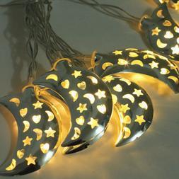 1 pc LED String Lights Moon Shape Wrought Iron Warm Lamps De