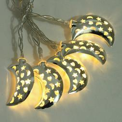 1 pc LED String Lights Moon Shape Wrought Iron Lamps for Gar