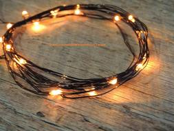 1 set of ORANGE led BLACK WIRE string lights, 6.6 feet long,