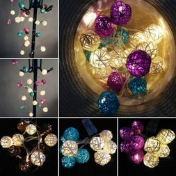 10/20 LED Fairy String Lights Cotton Balls Battery Operated