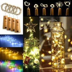 10 20 LED Light Wine Bottle Copper Wire String Light Cork Fe