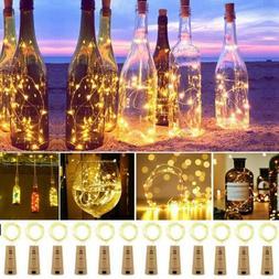 1/10pcs LED Wine Bottle Cork Copper Wire String light bulb F