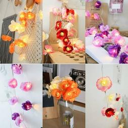 10-20 LEDs Battery Operated Flowers String Fairy Lights Holi