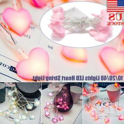 10/20 LEDs Heart String Fairy Lights Battery Xmas Gifts Home