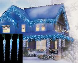 Hofert 10 Blue White Color Changing LED Icicle Outdoor Strin