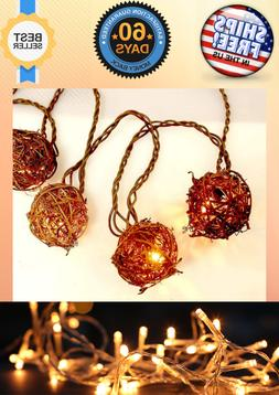 10 Count Brown Rattan Balls String Light With Warm White Var