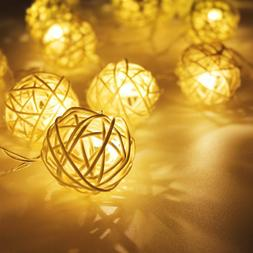 Philips 10 count Grey Rattan Ball String LED Lights Battery