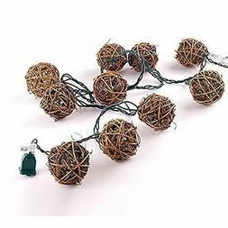 10 Counts Natural Rattan Balls String Light. Warm White Ligh