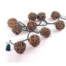 LIDORE 10 Counts Natural Rattan Balls String Light. Warm Whi