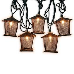 10 Counts Vintage Bronze Iron Nets Lanterns Plug-in String L