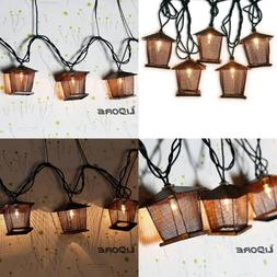 10 Counts Vintage Bronze Iron Nets Lanterns Plug In String L