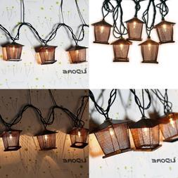 10 Counts Vintage Bronze Iron Nets Lanterns Plug In String L