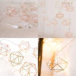 10 Light 5Ft ROSE GOLD Geometric Metal LED Lantern String Li