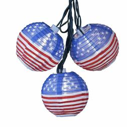 Kurt Adler 10-Light USA Flag Lantern Light Set, 3-Inch