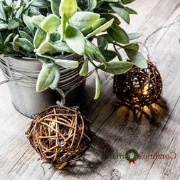 10 Pcs Natural Brown Rattan Ball Fairy Lights For Cristmas W