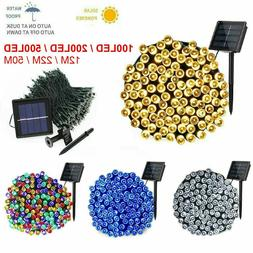 100 200 500 LED Solar String Lights Outdoor Garden Party Xma