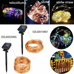 100/200 LED Solar Copper Fairy String Light Lamp Garden Deco