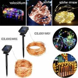 100 200 led solar copper fairy string