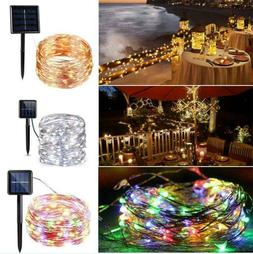 100 LED 10M Solar String Lights Portable Copper Wire Fairy L