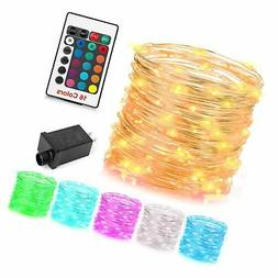 GDEALER 100 Led 16 Colors String Lights Electric Plug-in Mul