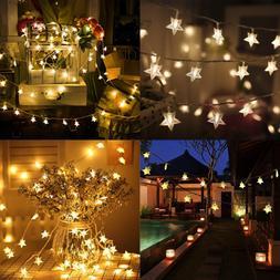 100 LED 49 FT Star String Lights Plug In Fairy Waterproof Ex