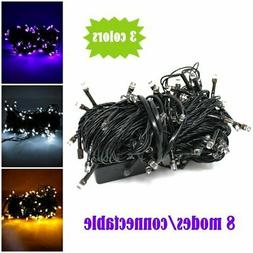 100 LED Black Wire String Lights w/ connector - Purple, Whit