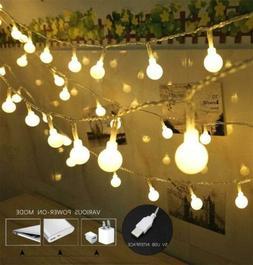 100 LED Globe String Lights, Ball Christmas warm white