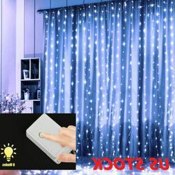 100 LED String Curtain Lights Waterfall Night Lights Xmas Pa