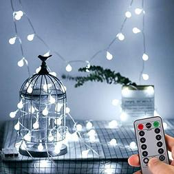 WERTIOO 33ft 100 LEDs Battery Operated String Lights Globe C