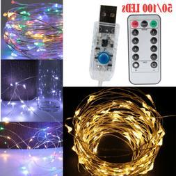 100 LEDs USB Operated Mini Silver Copper Wire String Fairy L
