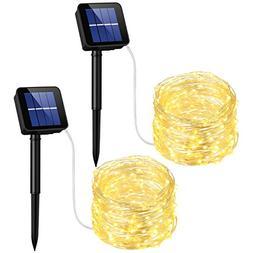 2 Pack 33ft 100 Solar Powered Leds String Lights Waterproof