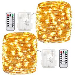 GDEALER 2 Pack 100 Led String Lights Fairy Lights Battery Op