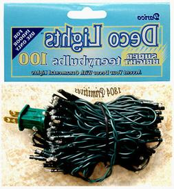 100 TEENY Clear Bulb Rice - Seed String Lights GREEN Cord In