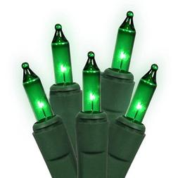 Holiday Essentials 100 Ultra-Brite Green Lights with Green W