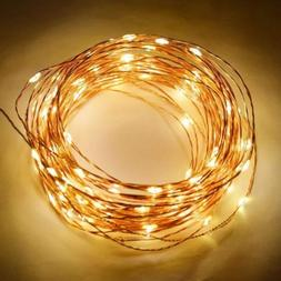 100 warm white led waterproof copper wire