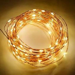 100 Warm White LED Waterproof Copper Wire Micro Fairy String
