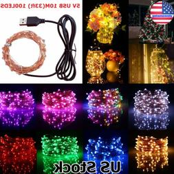 10M 100LED String Fairy Lights Copper Wire USB Powered Decor