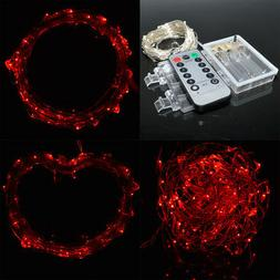 10M 33Ft 100LEDs Red AA Battery Operated Portable Xmas LED S