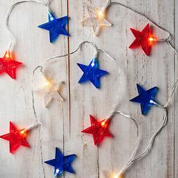 12 Red, White and Blue Star Indoor Decorative Battery Operat