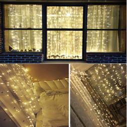 128/304 LED Window Curtain Light String Fairy Lamp Wedding P