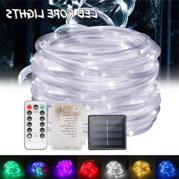 12m LED Solar Power Rope Tube Fairy Lights LED String Waterp