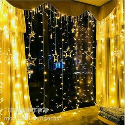 138 LEDs Star Lights String 12 Stars Window Curtain Lce Stri