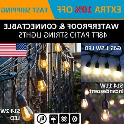 15 Hanging Sockets Patio String Lights S14/G45 Bulbs Outdoor