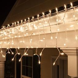 Kringle Traditions 9 ft 150 Clear Icicle Lights with Long Dr