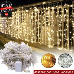 1800 LED Curtain Light String Fairy Wedding Lights Indoor Ou