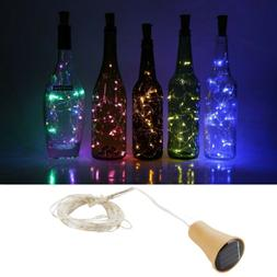 1M 2M LED Solar Copper Cork Wire String Fairy Lights Wine Bo