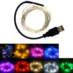 2/5/10M LED String Fairy Lights USB Plug In Silver Wire Gard