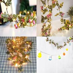 2 M 20 LED Flower Leaf Garland Battery Operate SILVER Fairy