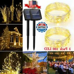 2 Pack 100 LED Solar Powered String Lights Copper Wire 33ft