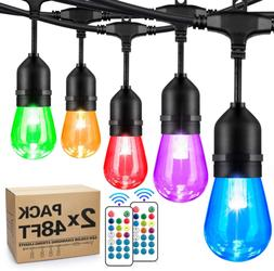 2-Pack 48FT Color Changing Outdoor RGB Cafe LED String Light